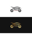motorycle logo design in gold and black vector image vector image