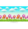 nature scene with flowers grass and clouds vector image