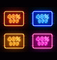 neon 40 off text banner color set night sign vector image vector image