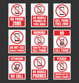 no mobile phone icon set cell phone prohibited vector image vector image