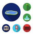 park equipment flat icons in set collection for vector image vector image