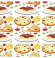 pasta and pizza seamless pattern vector image vector image