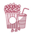 pop corn with soda cinema food vector image vector image