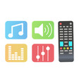 remote controller and icons set musical signs vector image