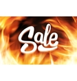 Sale inscription in fire flames banner vector image vector image