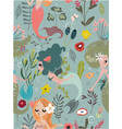 seamless pattern with cartoon mermaids and flowers vector image vector image