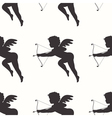 Seamless pattern with cupid silhouette vector image