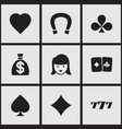 set of 9 editable casino icons includes symbols vector image vector image