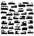 set of cartoon cars silhouettes vector image