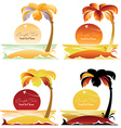 set tropical landscapes with palm trees vector image