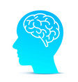 silhouette head with brain on blue vector image vector image