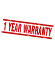 square grunge red 1 year warranty stamp vector image vector image