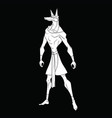 stylized god anubis on a black background vector image vector image
