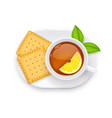 tea cup and biscuit on plate vector image vector image