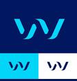 w logo blue volume monogram bent web wave vector image vector image