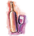 watercolor wine bottle and glass vector image vector image