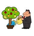Watering the fruit tree 4 vector image vector image