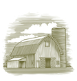 Woodcut Old Barn vector image vector image