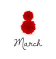 8 march red paper cut flowers women s day vector image