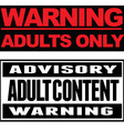 Adult Content Typographical Banners vector image
