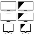 black modern tv silhouette set isolated on white vector image
