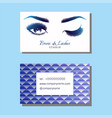 business card with beautiful girl brow and eye vector image vector image