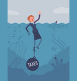 businesswoman drowning chained with a weight taxes vector image vector image
