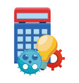 calculator with gears and big idea vector image