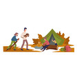 camping family burning logs active leisure vector image vector image