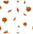 candy pumpkin halloween pattern seamless vector image
