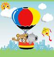 cartoon bear and elephant on hot air balloon