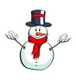 Cartoon Snowman On White vector image