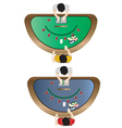 Casino furniture Blackjack table top view set 3 vector image vector image