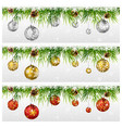 christmas with fir garland isolated on white vector image vector image