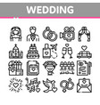 collection wedding thin line icons set vector image