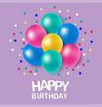 colorful balloons with message for happy birthday vector image