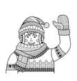 coloring page outline cartoon man raising his vector image vector image