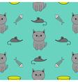 Cute gray cartoon cat Bowl fish bone mouse toy vector image vector image