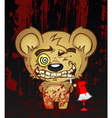 Demented Teddy Bear Cartoon Character vector image vector image