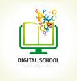 digital school book alphabet logo vector image vector image