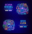 diving neon banners vector image vector image