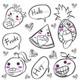 doodle of fruit funny hand draw vector image vector image