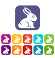 easter bunny icons set flat vector image vector image