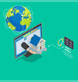 global online banking service isometric concept vector image vector image