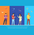 group people using smartphone concept vector image vector image