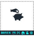 hand pick down coin into pig money box icon flat vector image