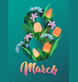 happy womens day flyer congratulation card march vector image vector image