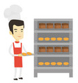 happy young male baker holding tray of bread vector image vector image