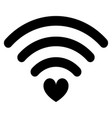 heart wifi icon black vector image vector image
