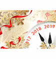 holiday new year 2019 banner with clock vector image vector image